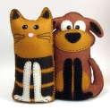 stuffed dog&cat
